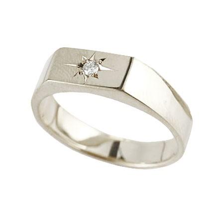 ピンキーリング ダイヤモンド リング 印台 ホワイトゴールドk10 指輪 ダイヤ 一粒 ダイヤモンドリング 10金 ストレート レディース 送料無料