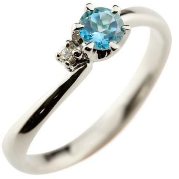 ピンキーリング ブルートパーズ プラチナリング 指輪 ダイヤモンド 大粒 pt900 レディース 11月誕生石 ダイヤ ストレート 宝石 送料無料