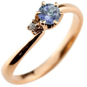 ピンキーリング アイオライト リング 指輪 ダイヤモンド ピンクゴールドk18 大粒 18金 レディース ダイヤ ストレート 宝石 送料無料
