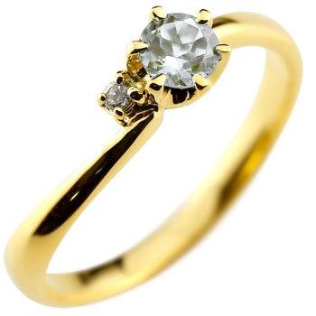 ピンキーリング アクアマリン リング 指輪 ダイヤモンド イエローゴールドk18 大粒 18金 レディース 3月誕生石 ダイヤ ストレート 宝石 送料無料