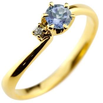 ピンキーリング タンザナイト リング 指輪 ダイヤモンド イエローゴールドk18 大粒 18金 レディース 12月誕生石 ダイヤ ストレート 宝石 送料無料