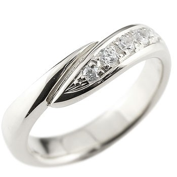ダイヤモンド シルバーリング 指輪 ピンキーリング ダイヤ ダイヤモンドリング スパイラル ウェーブリング sv レディース 送料無料