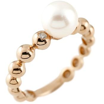 パールリング 真珠 フォーマル ピンクゴールドk10 リング ピンキーリング ダイヤモンド 指輪 10金 ストレート 送料無料