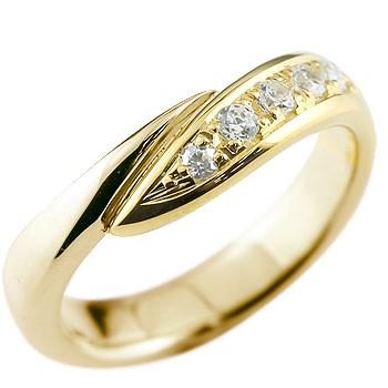 キュービックジルコニア リング 指輪 ピンキーリング イエローゴールドk10 スパイラル ウェーブリング 10金 レディース 送料無料