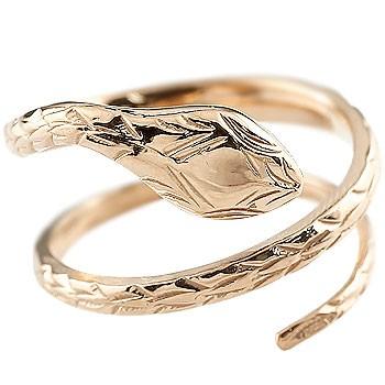 ピンキーリング ヘビ 蛇 指輪 リング 地金リング ピンクゴールドk18 フリーサイズ 18金 レディース 送料無料