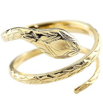 ピンキーリング ヘビ 蛇 指輪 リング 地金リング イエローゴールドK18 フリーサイズ 18金 レディース 送料無料