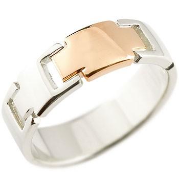 ピンキーリング クロス リング 指輪 プラチナ ピンクゴールドk18 コンビリング 地金リング 幅広指輪 十字架 シンプル 宝石なし レディース 18金 ストレート