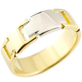 ピンキーリング クロス リング 指輪 イエローゴールドK18 プラチナ コンビリング 地金リング 幅広指輪 十字架 シンプル 宝石なし レディース 18金 ストレート