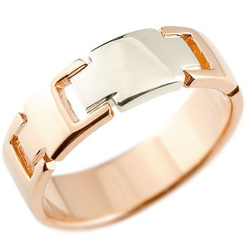 ピンキーリング クロス リング 指輪 ピンクゴールドk18 プラチナ コンビリング 地金リング 幅広指輪 十字架 シンプル 宝石なし レディース 18金 ストレート