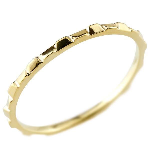 ピンキーリング リング 地金リング イエローゴールドk18 18金 極細 華奢 ストレート 指輪 送料無料