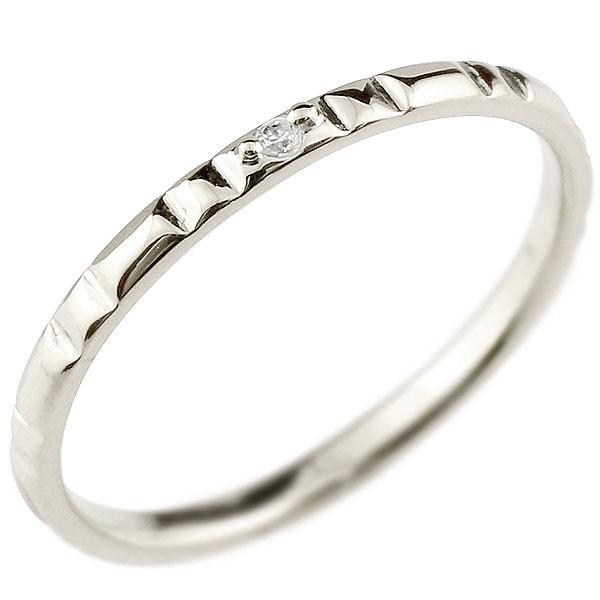 ピンキーリング ダイヤモンド 一粒 ホワイトゴールドk10 極細 10金 華奢 ストレート 指輪 送料無料