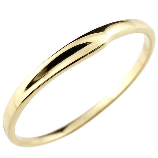 ピンキーリング イエローゴールドk18 18金 極細 華奢 指輪 送料無料
