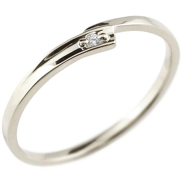 ピンキーリング ダイヤモンド ホワイトゴールドk10 一粒 10金 極細 華奢 スパイラル 指輪 送料無料