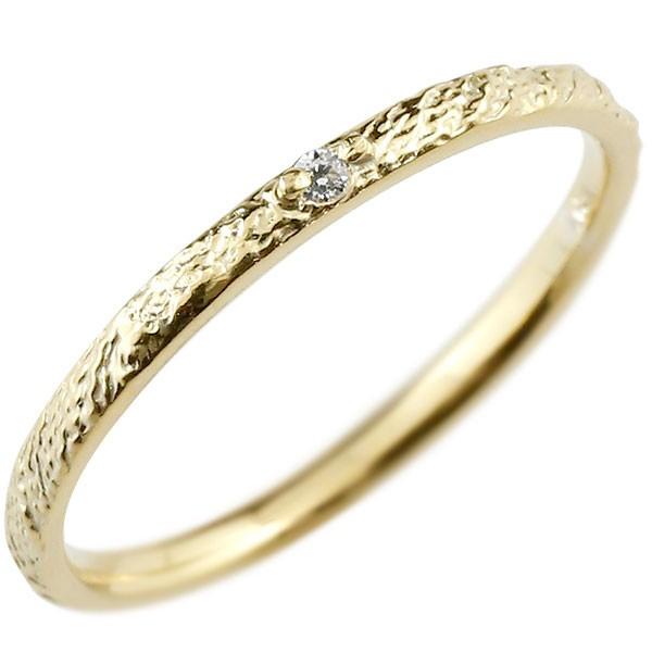 ピンキーリング 指輪 ダイヤモンド 一粒 イエローゴールドk18 極細 18金 華奢 アンティーク ストレート 指輪 送料無料