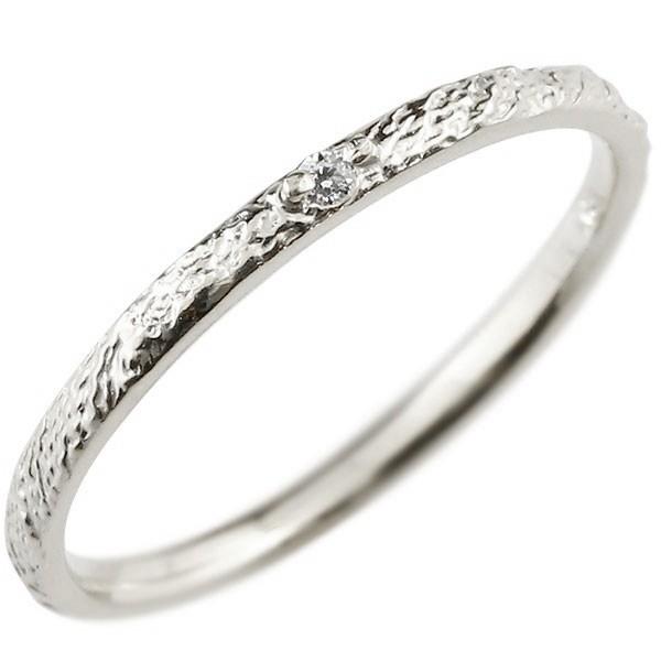 ピンキーリング ダイヤモンド 一粒 ホワイトゴールドk10 極細 10金 華奢 アンティーク ストレート 指輪 送料無料