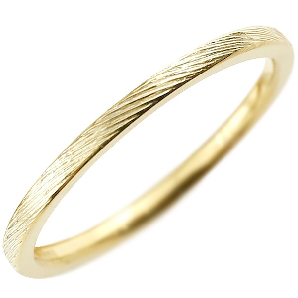 ピンキーリング イエローゴールドk18 極細 華奢 アンティーク ストレート 指輪 地金リング 送料無料