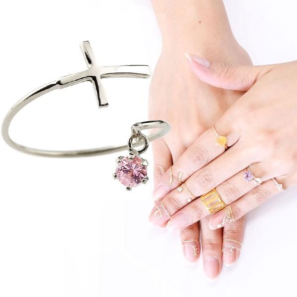 ピンキーリング ファランジリング クロス 十字架 ピンクサファイア ホワイトゴールドk10 ミディリング 関節リング 指輪 10金 レディース ネイルリング 宝石