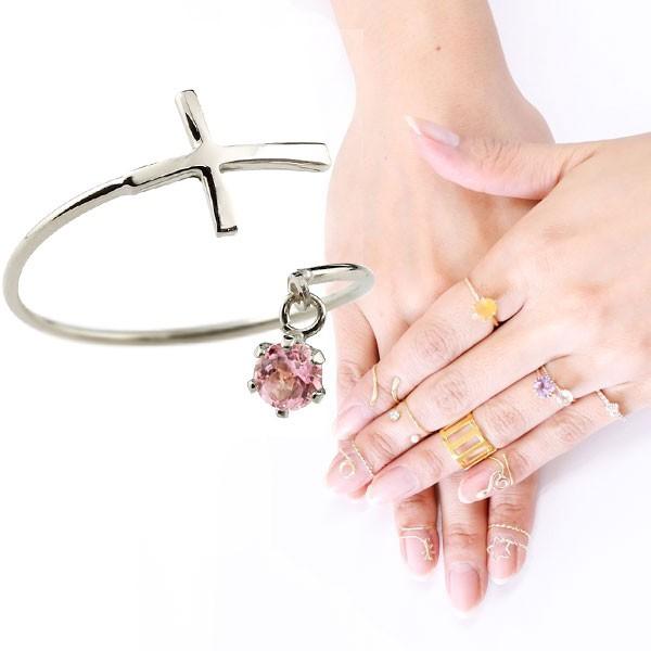 ピンキーリング ファランジリング クロス 十字架 ピンクトルマリン ホワイトゴールドk18 ミディリング 関節リング 指輪 18金 レディース ネイルリング 宝石