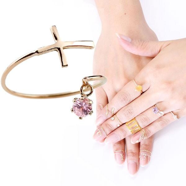 ピンキーリング ファランジリング クロス 十字架 ピンクサファイア ピンクゴールドk18 ミディリング 関節リング 指輪 18金 レディース ネイルリング 宝石