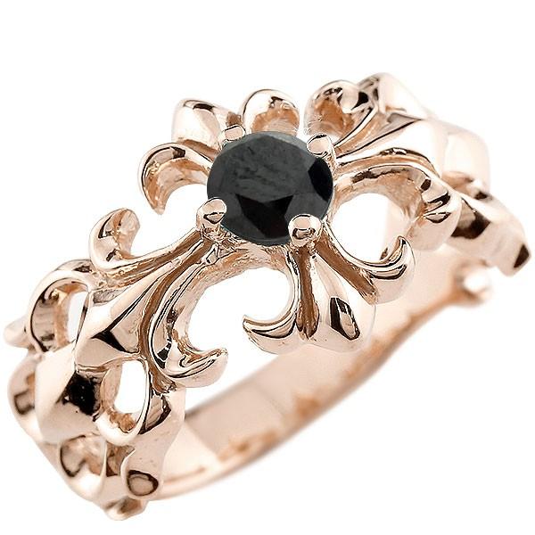 クロス リング ブラックダイヤモンド ピンクゴールドk18 幅広 指輪 ダイヤ ピンキーリング 18金 レディース 送料無料