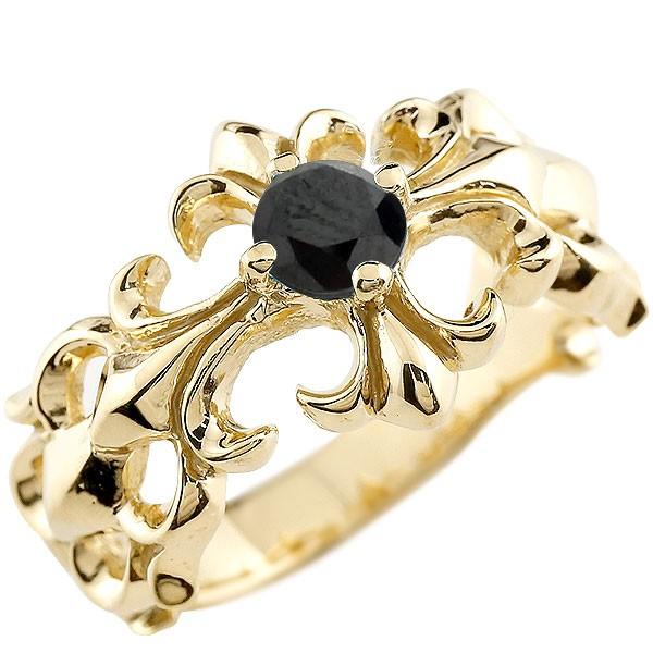 クロス リング ブラックダイヤモンド イエローゴールドk18 幅広 指輪 ダイヤ ピンキーリング 18金 レディース 送料無料