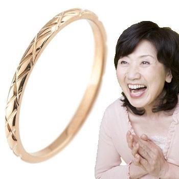 ピンキーリング ピンクゴールドk18 18金 極細 華奢 アンティーク 指輪 ばぁばリング お誕生日 敬老の日 長寿のお祝い ストレート 2.3 送料無料