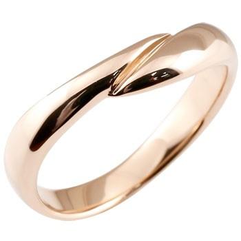 指輪 ピンクゴールドk18 リング ピンキーリング 地金リング 宝石なし スパイラル ウェーブリング 18金 送料無料