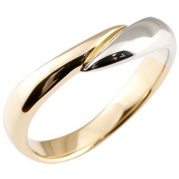 指輪 イエローゴールドk18 プラチナ リング コンビリング ピンキーリング 地金リング 宝石なし スパイラル ウェーブリング 送料無料