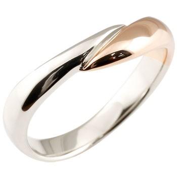 プラチナリング 指輪 ピンクゴールドk18 コンビリング ピンキーリング 地金リング 宝石なし スパイラル ウェーブリング 送料無料