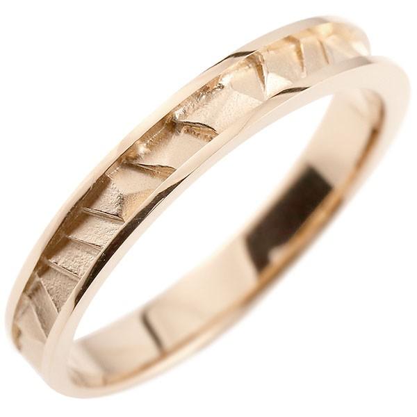 指輪 ピンクゴールドk10 リング ピンキーリング 地金リング 10金 つや消し シンプル 宝石なし レディース ストレート 送料無料