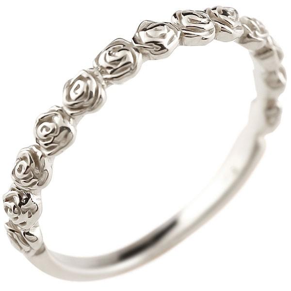ピンキーリング バラ ローズ 薔薇 ホワイトゴールドk10リング シンプル 指輪 華奢リング 重ね付け 指輪 地金リング 細身 k10 アンティーク レディース 送料無料