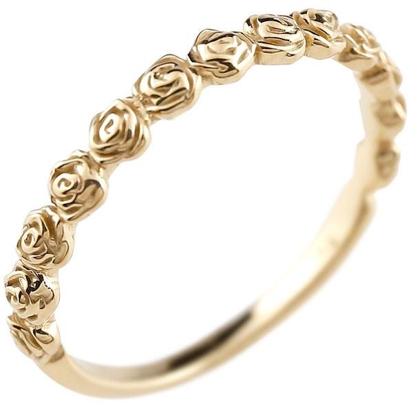ピンキーリング バラ ローズ 薔薇 イエローゴールドk10リング シンプル 指輪 華奢リング 重ね付け 指輪 地金リング 細身 k10 アンティーク レディース 送料無料