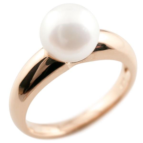 パールリング 真珠 フォーマル ピンクゴールドk10 リング ピンキーリング 指輪 10金 ストレート 送料無料