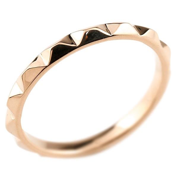 ピンキーリング 指輪 ピンクゴールドk18 レディース 地金リング 18金 送料無料