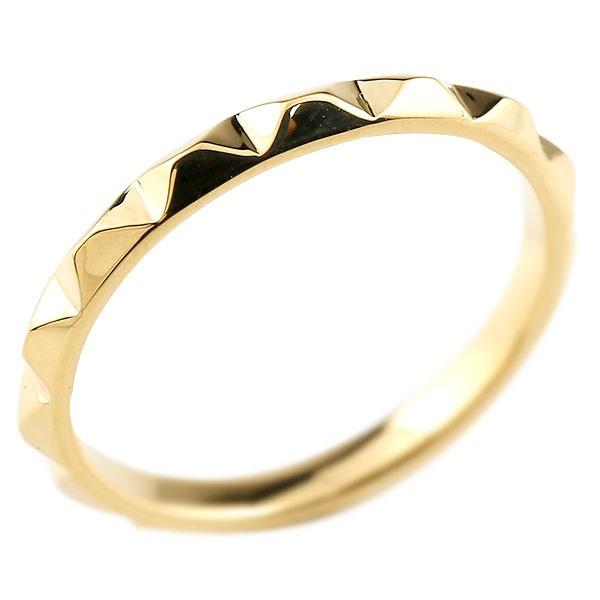 ピンキーリング 指輪 イエローゴールドk18 レディース 地金リング 18金 送料無料