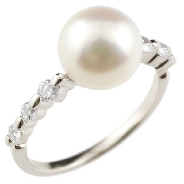 パールリング 真珠 フォーマル ピンキーリング キュービックジルコニア プラチナリング リング 指輪 pt900 ストレート 送料無料