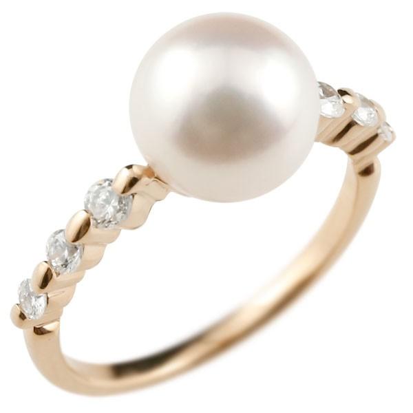 パールリング 真珠 フォーマル ピンキーリング キュービックジルコニア ピンクゴールドk10 リング 指輪 10金 ストレート 送料無料