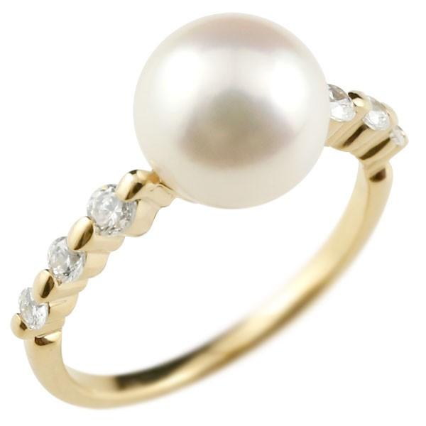 パールリング 真珠 フォーマル ピンキーリング ダイヤモンド ダイヤ イエローゴールドk18 リング 指輪 18金 ストレート 送料無料