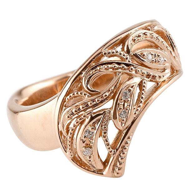 リング ダイヤモンド ピンクゴールドk18 指輪 透かし 幅広リング アラベスク レディース ピンキーリング ミル打ち 18金 宝石 送料無料
