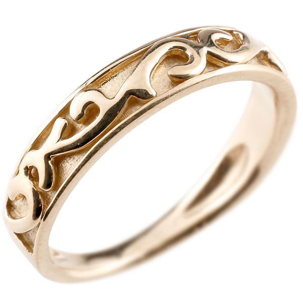 ピンキーリング 指輪 地金リング ピンクゴールドk18 アラベスク ストレート 宝石無し ホーニング つや消し 18金 宝石 送料無料