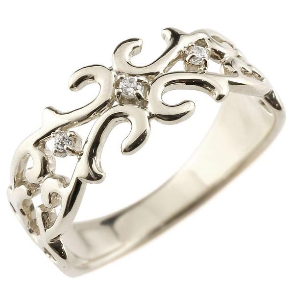 ピンキーリング プラチナリング 指輪 ダイヤモンド 透かし アラベスク ダイヤ ストレート 宝石 送料無料