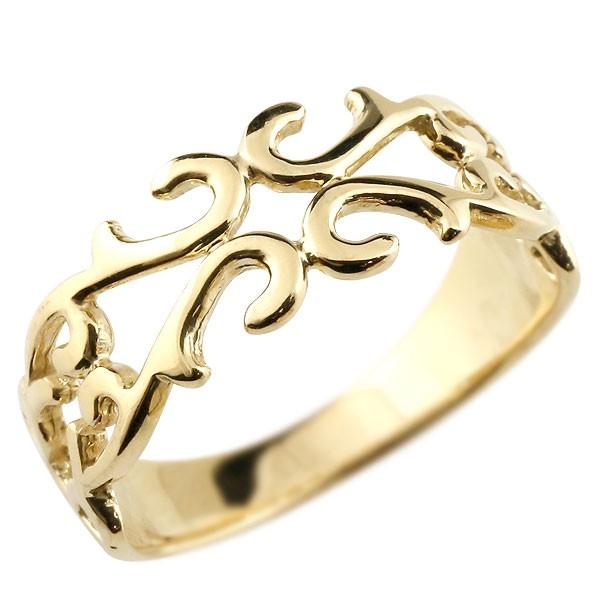 ピンキーリング 指輪 地金リング 透かし イエローゴールドk18 アラベスク ストレート 宝石無し 18金 宝石 送料無料