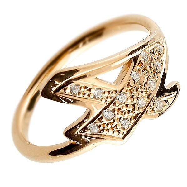 ピンキーリング ダイヤモンド ナンバー4 ピンクゴールドk10 10金 リング 指輪 数字 ストレート 送料無料