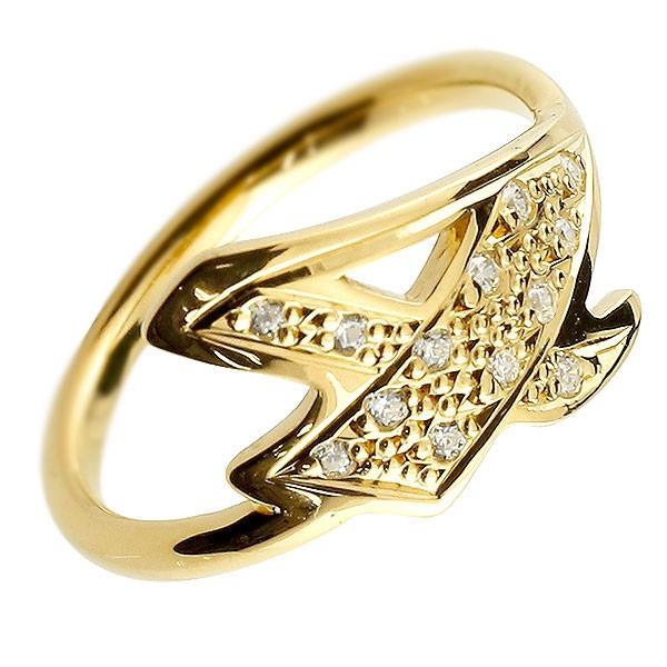 ピンキーリング ダイヤモンド ナンバー4 イエローゴールドk10 10金 リング 指輪 数字 ストレート 送料無料