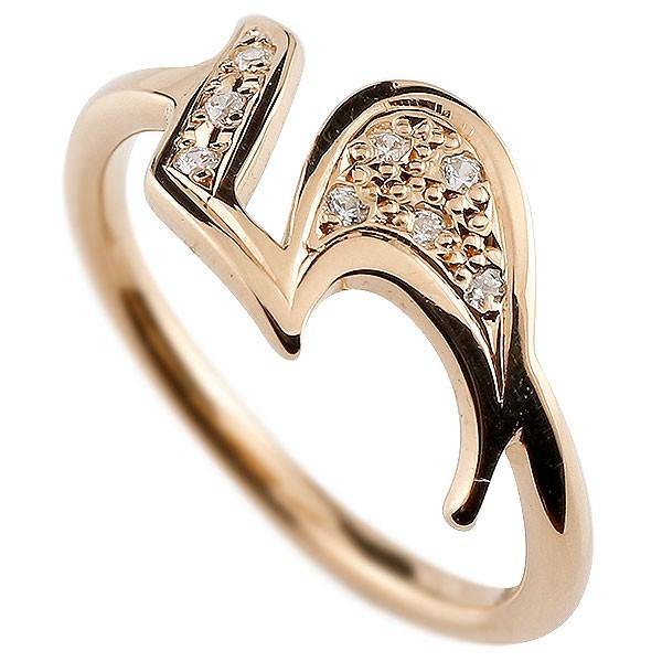 ピンキーリング ダイヤモンド ナンバー5 ピンクゴールドk10 10金 リング 指輪 数字 ストレート 送料無料