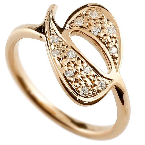 ピンキーリング ダイヤモンド ナンバー6 ピンクゴールドk10 10金 リング 指輪 数字 ストレート 送料無料