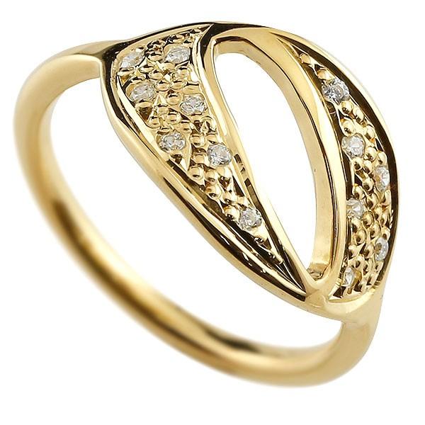 ピンキーリング ダイヤモンド ナンバー0 イエローゴールドk18 18金 リング 指輪 数字 ストレート 送料無料