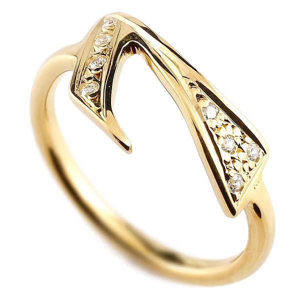 ピンキーリング ダイヤモンド ナンバー7 イエローゴールドk10 10金 リング 指輪 数字 ストレート 送料無料