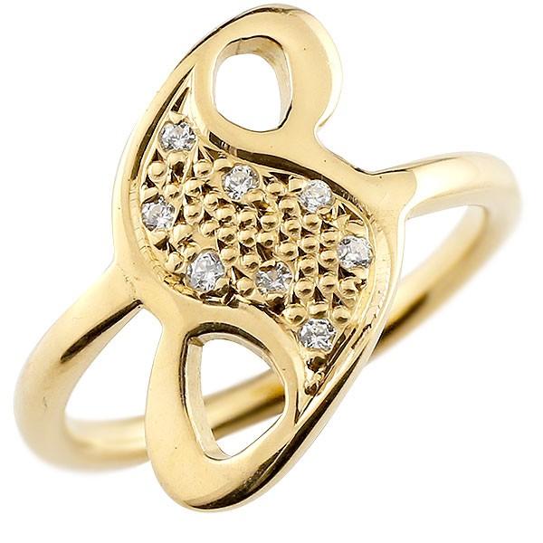 ピンキーリング ダイヤモンド ナンバー8 イエローゴールドk18 18金 リング 指輪 数字 ストレート 送料無料