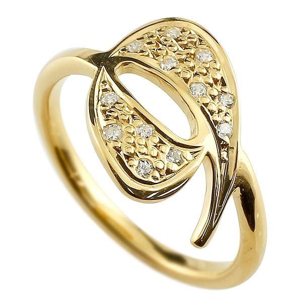 ピンキーリング ダイヤモンド ナンバー9 イエローゴールドk18 18金 リング 指輪 数字 ストレート 送料無料